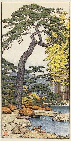It's a friendly garden:-)  Pine Tree of the Friendly Garden  by Toshi Yoshida, 1980.
