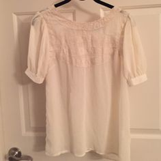 Vintage lace top Sheer lace top with back button down detail Francesca's Collections Tops Blouses