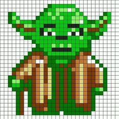 Yoda Star Wars / Perler Beads - Hama perlen - Bügelperlen - only has picture. Fuse Bead Patterns, Perler Patterns, Beading Patterns, Loom Patterns, Bracelet Patterns, Knitting Patterns, Beaded Cross Stitch, Cross Stitch Embroidery, Cross Stitch Patterns