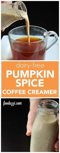 Dairy Free Pumpkin Spice Coffee Creamer: hello, fall in a cup! And it's vegan, gluten free, and made with only 4 ingredients! || fooduzzi.com recipes