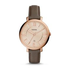 Latest FOSSIL Jacqueline Grey Leather Watch / Analogue Women's Quartz Wrist Watch with Date Function in Gift Box – Rose Gold Stainless Steel Case and Dial Fossil Watches, Cool Watches, Wrist Watches, Fossil Jacqueline Watch, Bracelet Cuir, Grey Leather, Stainless Steel Case, Fashion Watches, Women's Fashion