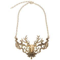 Deer Head Golden Necklace