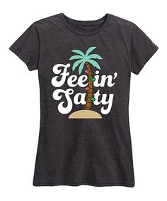 Look what I found on #zulily! Heather Charcoal 'Feelin' Salty' Christmas Palm Relaxed-Fit Tee - Women & Plus #zulilyfinds Tropical Christmas, Charcoal, Tees, Mens Tops, Women, Fashion, Moda, T Shirts, Women's