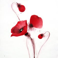 """Poppies, red floral art giclee print in red, white and black . 'Field Poppies' I . 8x11"""" . Signed . by English artist Joanne Poore.. $30.00, via Etsy."""