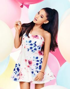 Ariana Grande For Lipsy Floral Bandeau Prom Dress Lipsy Dresses, Floral Prom Dresses, Dress Prom, Strapless Dress, Ariana Grande Lipsy, Bandeau Dress, Fashion Line, Women's Fashion, Queen