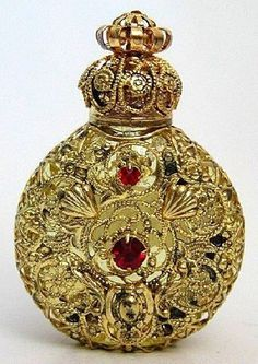 Bohemian Gold Tone Filigree Mini Perfume Bottle Jeweled Red Crystal Glass Stones