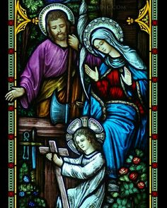 "~ Living a Beautiful Life ~ ""Young Jesus with Family"" Religious Stained Glass Window Stained Glass Church, Stained Glass Paint, Stained Glass Windows, Religious Pictures, Jesus Pictures, Catholic Art, Religious Art, Mosaic Glass, Glass Art"