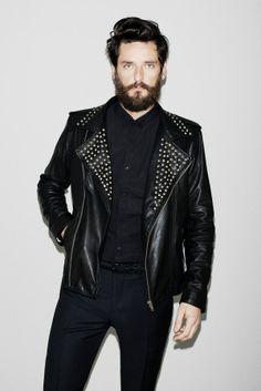 Leather stud jacket