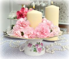 Instead of candle...goodies or cake on plate??...Tea Party decoration