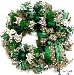 St. Patrick's Day Front Door Wreath St. Paddy's by FancyWreathLady #Shamrock