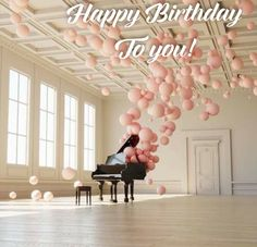 Have a Beautiful Weekend! Enchanting music and balloon art installation by federico picci Pink Balloons, grand piano, balloon installation. Happy Birthday Wishes, Birthday Greetings, Birthday Cards, Happy Birthday Piano, Ballon Rose, Bolo Floral, Fiestas Party, Balloon Installation, Light Installation