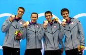 Gold Medal, Brendan Hansen, Matthew Grevers, Michael Phelps and Nathan Adrian  August 4, 2012  View image detail