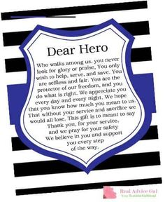 How to Reward Police officers - Real Advice Gal - #lawenforcementappreciationquotes Police Officer Gifts, Police Gifts, Police Officer Quotes, Police Prayer, Police Quotes, Police Wife Life, Police Family, Police Party, Blessing Bags