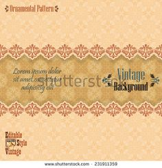 Vintage background with divider and beautiful arabesque, useful for greeting and luxury postcard; ornamental pattern template in design, decorative page cover. Royalty Free Images, Royalty Free Stock Photos, Background Vintage, Arabesque, Lorem Ipsum, Vector Art, Vectors, Divider, Templates