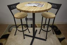 Butcher block pub table for new apartment pinterest butcher butcher block pub table with matching chairs by mcclure tables watchthetrailerfo