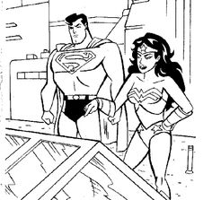 superman and superwoman coloring pages