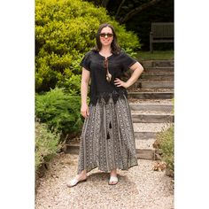 Aztec Maxi Skirt Aztec Maxi Skirts, Water Modeling, Hair Beads, Elastic Waist, Shirt Dress, Black And White, How To Wear, Dresses, Fashion