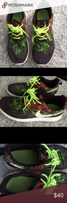 Tropical Nike roshe runs Great condition, hardly ever used. Size 6 in women's. Nike Shoes Sneakers