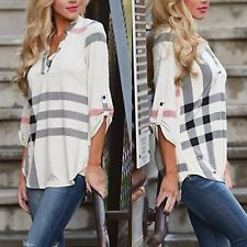 Para mujeres Dama Suelto Mangas Largas Informal Blusa Camisa Top Blusa Nueva Moda