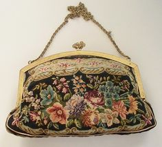 """Antique Needlepoint """"Petit Point"""" Purse with Jewels Austrian from antique charm."""