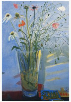 Flowers in a Glass Vase by Elizabeth Blackadder. Scottish painter and printmaker. Her work has been used in a series of Royal Mail stamps and 2001 she was appointed as Her Majesty's Painter and Limner in Scotland.