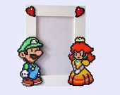 Paper Mario Picture Frame - White Frame with Mario & Peach - Horizontal or Vertical.