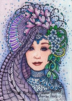 Muse in Hues of Blues ~ Winterberry Maiden Series, an ACEO Open Edition Authorized Art Print zentangle inspired Artwork by Karen Anne Brady