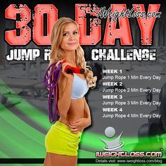 The 30 Day Jump Rope Challenge! Fit is NOT a destination. It is a way of life!