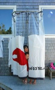 outdoor shower curtain by sea bags- I'd almost tear the sides off my outdoor shower I love this SO much:)