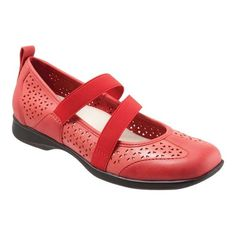 058cfd738e44 Women s Trotters Josie Mary Jane - Red Perf Leather Slip-on Shoes