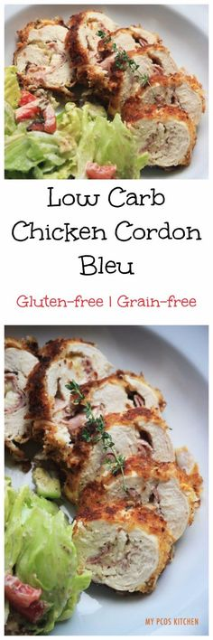 My PCOS Kitchen - Gluten-free Chicken Cordon Bleu - Gluten-free Chicken Cordon Bleu Pan-fried and oven-baked Low-carb Perfect for PCOS via Low Carb Chicken Recipes, Gluten Free Chicken, Diet Recipes, Cooking Recipes, Dinner Side Dishes, Chicken Cordon Bleu, Supper Recipes, Food Dishes, Food Food