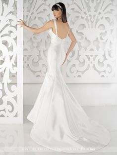 Mon Cheri Collection by Laine Berry - MCLB21644B – Juliet - Sleeveless faille mermaid gown with notched square neckline, sculpturally gathered bodice, princess lined skirt with sweep train.Sizes: 0 – 16Color: Ivory