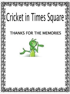 My students are reading the cricket in times square i had for Activities in times square