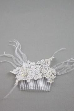 Comb hair lace Flower and bead pattern several color available white, ivory or black Wedding Accessories, Hair Accessories, Hair Beads, Crochet Necklace, Bridal, Etsy, Color, Wedding Ideas, Patterns