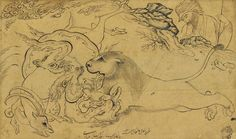 AN ANIMAL COMBAT SCENE | WITH ATTRIBUTION TO REZA-I 'ABBASI, SAFAVID IRAN, DATED 1 SHAWWAL AH 1041/21 APRIL 1632 AD | Paintings, ink | Christie's Islamic Art Pattern, Pattern Art, Ancient Near East, Ganesha Art, Thing 1, Iranian Art, Paper Drawing, Traditional Paintings, Animal Fashion