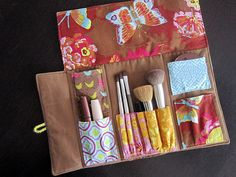 Fabric makeup organization kit - with space for everything from brushes to blushes!