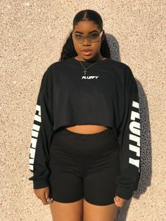 """""""FLUFFY"""" Exclusive long sleeve Tee (Black & White) sold by FOC by Flaws of Couture. Shop more products from FOC by Flaws of Couture on Storenvy, the home of independent small businesses all over the world. Thick Girls Outfits, Basic Outfits, Curvy Outfits, Short Outfits, Plus Size Outfits, Girl Outfits, Fashion Outfits, Chubby Fashion, Black Girl Fashion"""