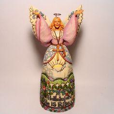 """JIM SHORE Heartwood Creek Lg. 10"""" Easter ANGEL """"Hallelujah He Is Risen"""" figurine"""