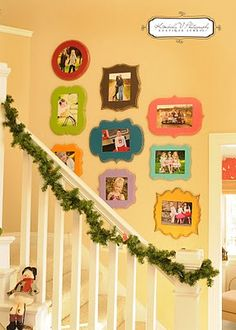 colored random frames- great idea for classroom pics board! Just glue a page protector to the back for easy pic change out.