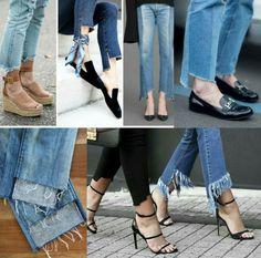 Calças jeans: Barra assimétrica, você já ouviu falar? Sua principal característica é onde a parte de trás da calça fica mais comprida. Acho um charme.