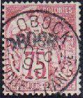 1892 Obock, 75c carmine/rose.