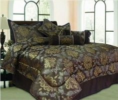 Luxury Home Denmark 7-Piece Queen Comforter Set, Chocolate by Luxury Home. $74.68. Comforter Measures 90-inch by 90-inch. 100% Polyester. Large floral design. Machine washable. Imported. The set includes: comforter, bedskirt, 2 pillow shams, 3 decorative pillows. Denmark 7-piece Comforter set features large floral design. The set includes: Comforter, Bedskirt, 2 Pillow Shams, 3 Decorative Pillows. Machine Washable. Imported. Save 25%!