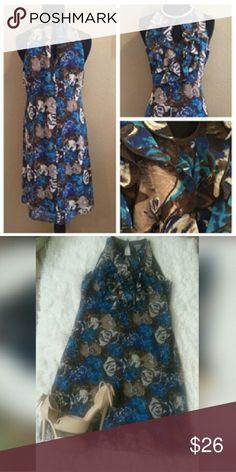 Like New Sheath Beautiful Sheath Dress by Ann Taylor, lined, floral print, key hole ruffle collar #businessorplay Ann Taylor Dresses