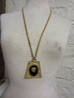 Huge 60s 70s Gold and Black Stone Cameo Bling by BranchOutShop, $24.00