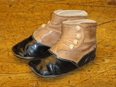 Victorian Leather Baby Shoes Tan And Black