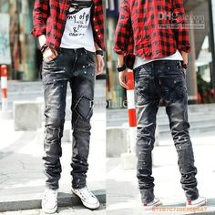 Wholesale 2012 New Korean Men Jeans Casual Jeans Straight jeans Slim jeans Washed Patch jeans, Free shipping, $33.79-41.3/Piece | DHgate
