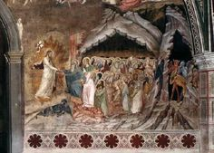 ANDREA DA FIRENZE Descent into Hell 1366-67 Fresco Cappellone degli Spagnoli, Santa Maria Novella, Florence At bottom right on the north wall the scene Descent into Hell is depicted. This is one of the scenes on the wall opposite to the entrance of the chapel. This wall is covered with scenes of the Passion and Resurrection of Christ. Instead of painting the scenes in many panels, as the Giottesque artists did,