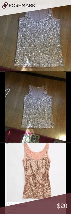 J. crew sequin vouch tank, size large Classic J. crew sequin blush tank, nice fit, pairs well with boyfriend jeans and heels! Excellent condition.size l Tops Tank Tops
