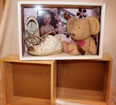 Kreative mamma: Oppbevaring- og utstillingskasse. take care of your babys first things.