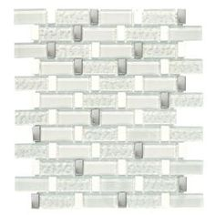 Backsplash in Kitchen  Jeffrey Court Valor Sky White Stainless 12.5 in. x 11.75 in. Glass Stone Metal Mosaic Wall Tile